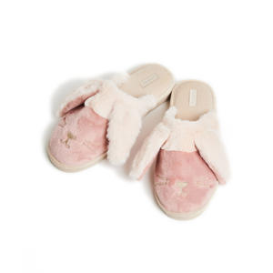 pantoffels Bunny van imitatiebont roze/ecru