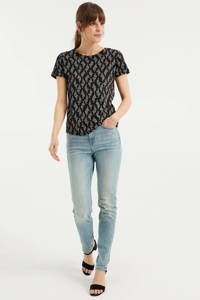 WE Fashion T-shirt met all over print zwart, Zwart