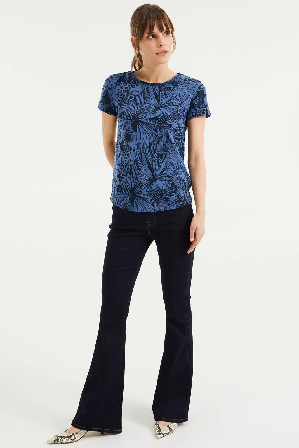 WE Fashion T-shirt met all over print blauw, Blauw