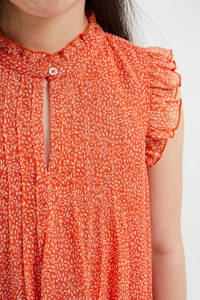 WE Fashion jurk met all over print en ruches oranje, Oranje