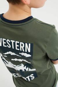 WE Fashion T-shirt met printopdruk legergroen/wit, Legergroen/wit