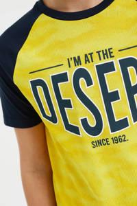 WE Fashion T-shirt met tekst geel/donkerblauw, Geel/donkerblauw