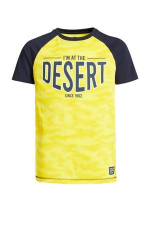 T-shirt met tekst geel/donkerblauw