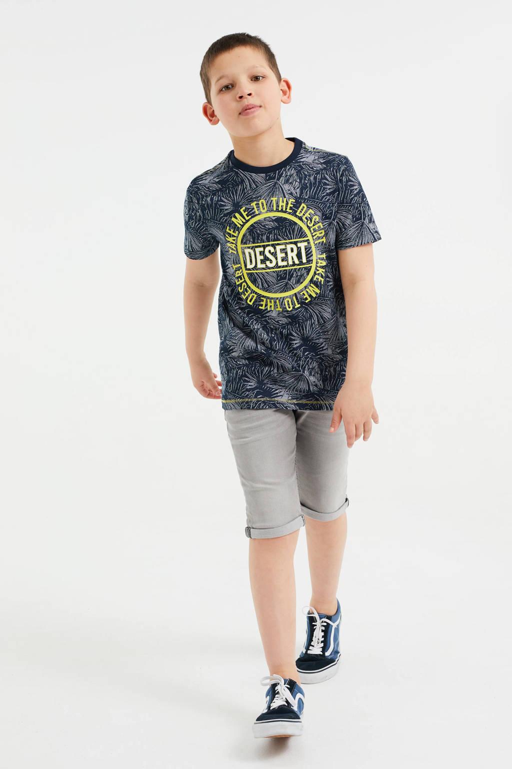 WE Fashion T-shirt met all over print blauw/geel, Blauw/geel