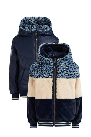 reversible imitatiebont winterjas donkerblauw/ecru