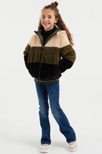 WE Fashion reversible imitatiebont winterjas met all over print groen/beige, Groen/beige