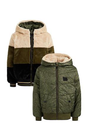 reversible imitatiebont winterjas met all over print groen/beige