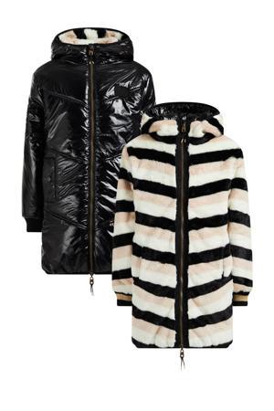 gestreepte reversible imitatiebont winterjas zwart/roze/wit