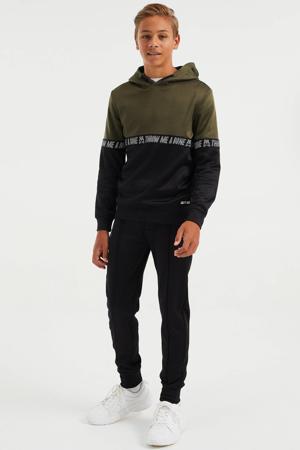 hoodie olifjgroen/zwart