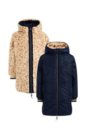 reversible imitatiebont winterjas met all over print donkerblauw/beige