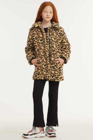teddy winterjas met panterprint lichtbruin/bruin