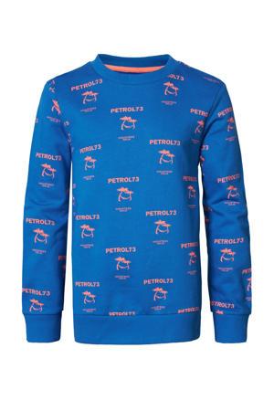 sweater met all over print blauw/oranje