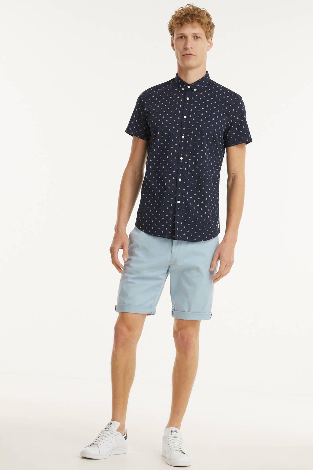 Tom Tailor Denim regular fit overhemd met all over print donkerblauw, Donkerblauw