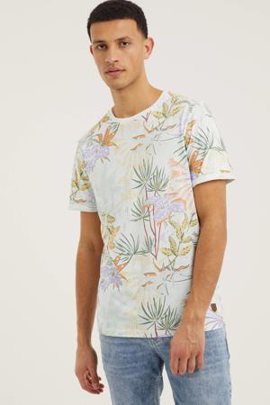 T-shirt Blales met all over print wit/oranje