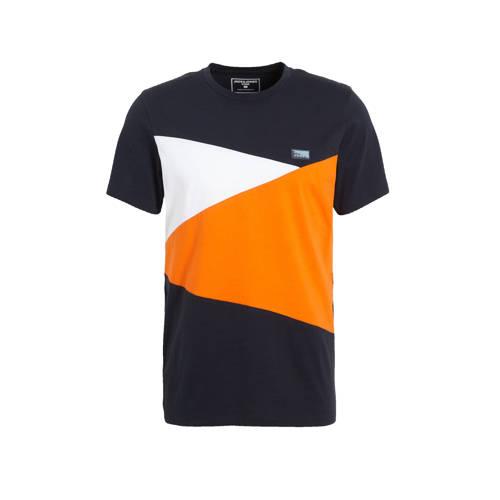 JACK & JONES CORE T-shirt Pop donkerblauw/wit/oranje