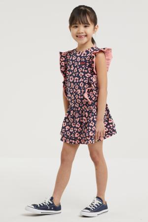 jurk Willa met panterprint en ruches donkerblauw/roze