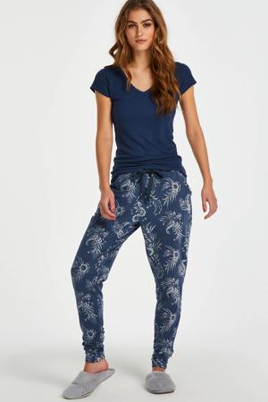 pyjamatop met rib structuur donkerblauw