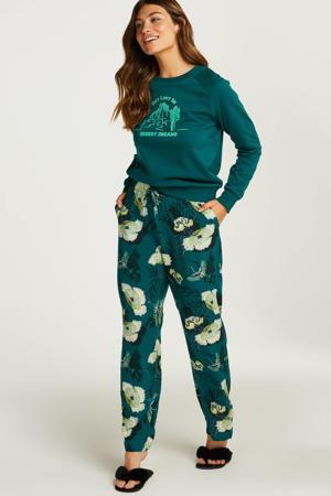 pyjamabroek Lotus Bird met all over print groen