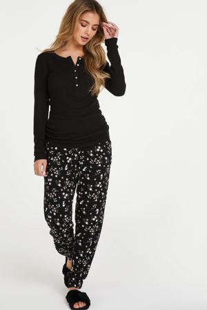 gebloemde pyjamabroek zwart/roze
