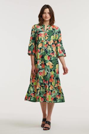 trapeze jurk Anais met all over print en volant groen/multi