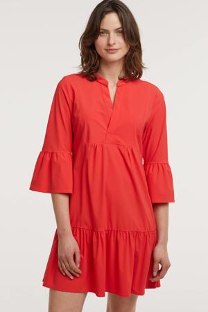 A-lijn jurk Sylvia met volant rood