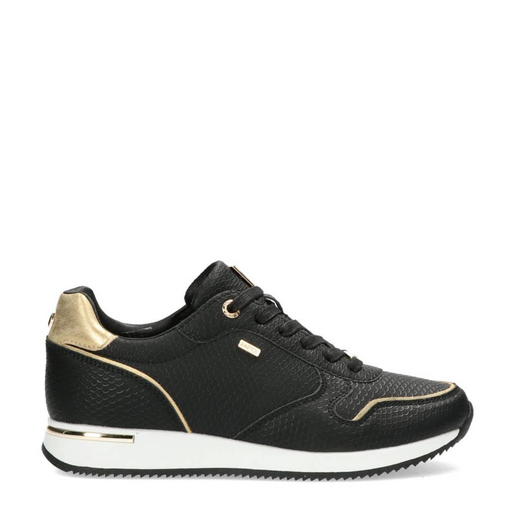 Mexx Eke  sneakers met slangenprint zwart/goud, Zwart/goud