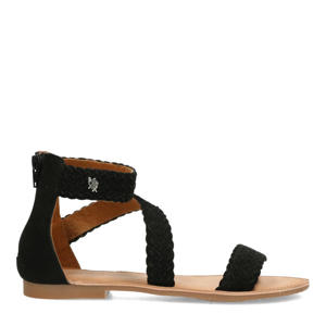 Eda  leren sandalen zwart