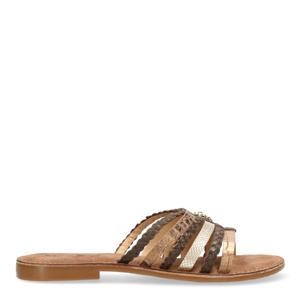 Early  leren slippers bruin/koper