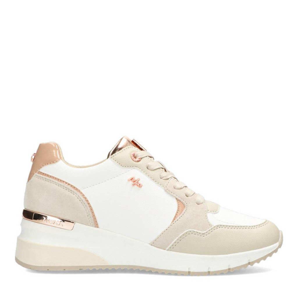 Mexx Gena  wedge sneakers wit/beige, Wit/beige/roze