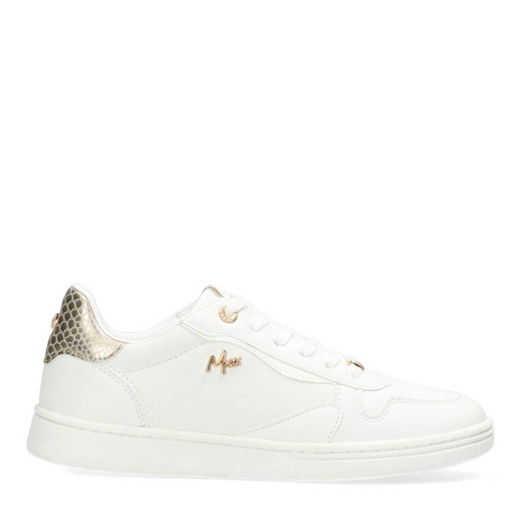 Mexx Giselle  sneakers met crocoprint wit, Wit/goud