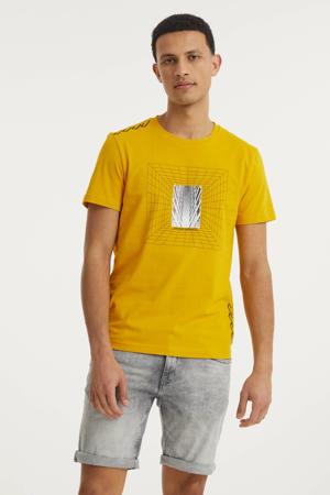 T-shirt met printopdruk geel