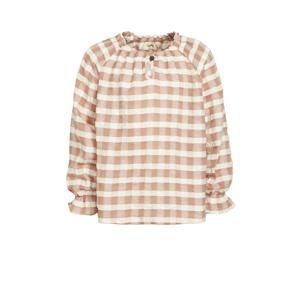 geruite blouse Finga roze/ecru