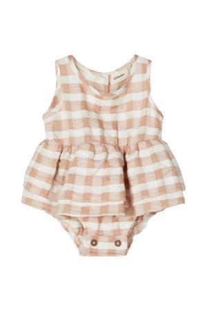 newborn baby jurk Finga bruin/ecru