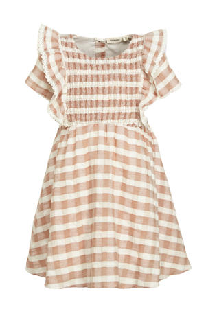 geruite jurk Finga roze/ecru
