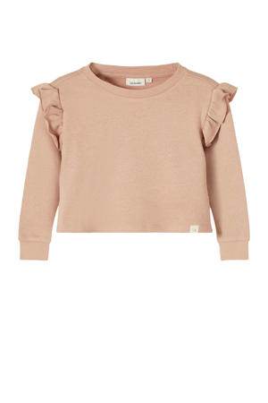 sweater Fiselma met ruches bruin