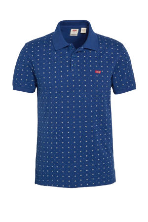 slim fit polo met all over print kobaltblauw