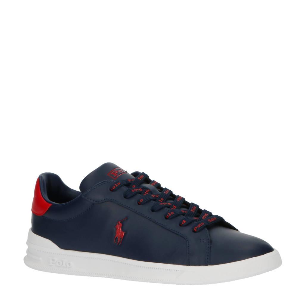 Ralph Lauren Heritage Court II  leren sneakers donkerblauw/rood, Donkerblauw/rood