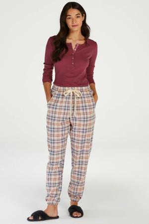 geruite pyjamabroek Twill beige/rood/blauw