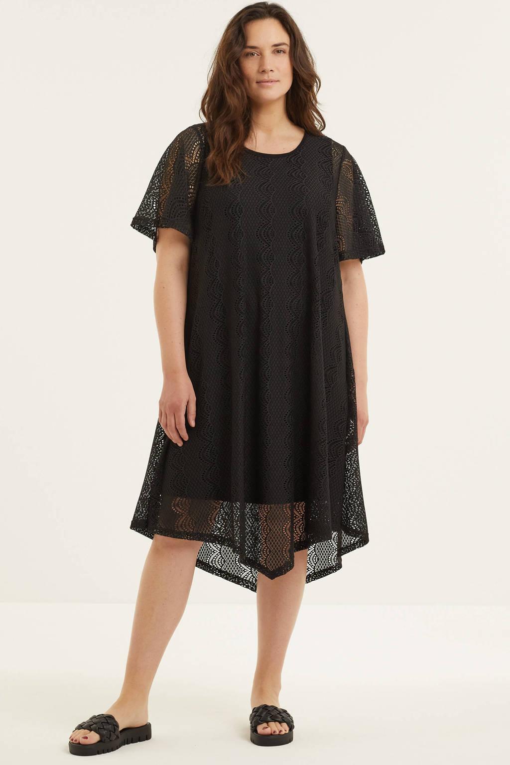 STUDIO semi-transparante jurk Pernille zwart, Zwart