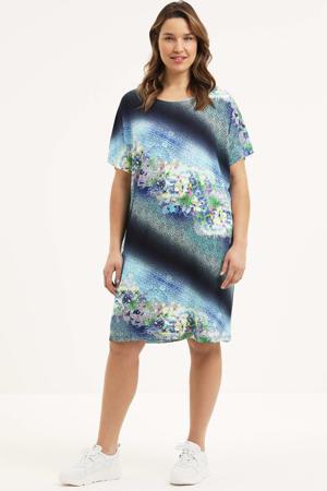 jurk Ane met all over print blauw/zwart/wit