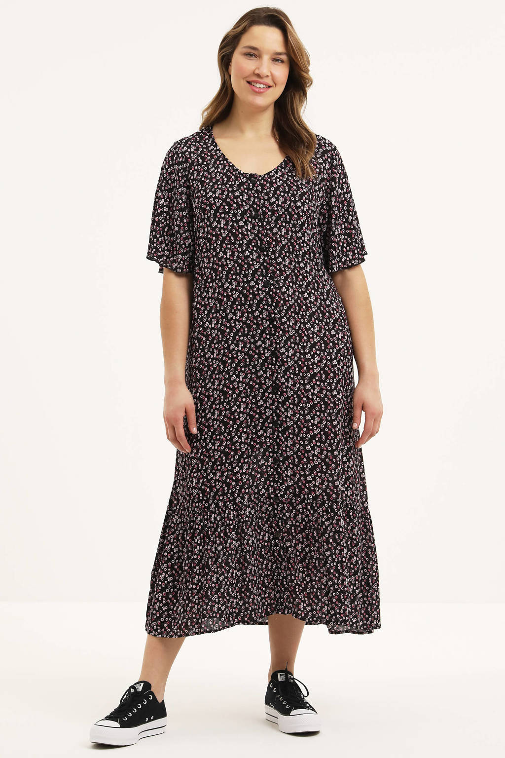 STUDIO gebloemde semi-transparante A-lijn jurk Ida zwart/wit/roze, Zwart/wit/roze