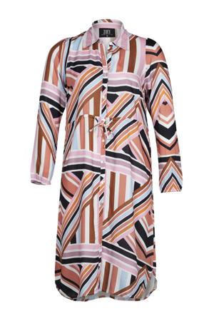 jurk MAE met grafische print lichtroze/bruin/lichtblauw
