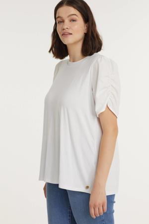T-shirt SIERRA  met plooien wit
