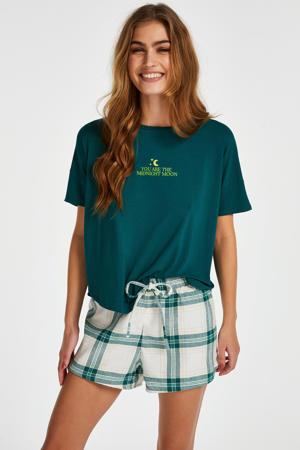 geruite pyjamashort grijs/groen
