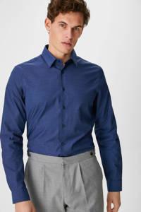 C&A Angelo Litrico slim fit overhemd met textuur donkerblauw, Donkerblauw
