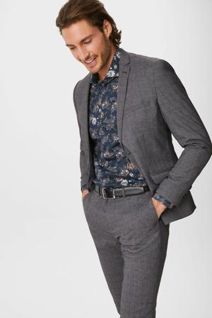 gebloemd slim fit overhemd donkerblauw/multi