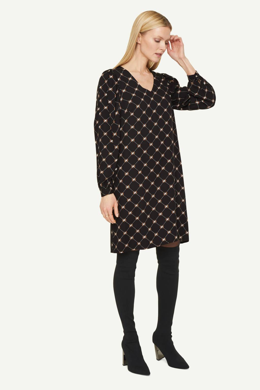 comma jurk met all over print zwart/beige, Zwart/beige