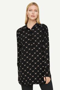comma semi-transparante blouse met all over print zwart/wit/donkerrood, Zwart/wit/donkerrood