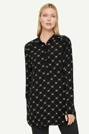 semi-transparante blouse met all over print zwart/wit/donkerrood