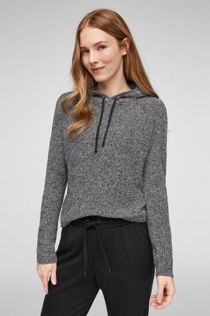 gemêleerde gebreide hoodie grijs melange/zwart